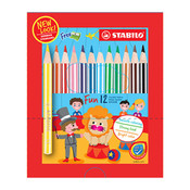 STABILO Swans Jumbo Coloured Pencils Half Length (Box Of 12)