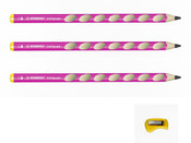 STABILO EASYgraph 2B Pink Left Hand (Pack of 3 w/ Sharpener)