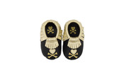 Itzy Ritzy MOC HAPPENS™ LEATHER BABY MOCCASINS - Tokidoki Hearts & Crossbones Size M