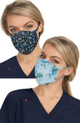 KOI Betsey Johnson Print Face Mask  (2 in 1 pack) - Floral Leopard & Ditsy Floral Blue