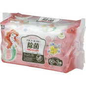 LEC Japan Disney Alcohol-free Disinfectant Wipes 60s x 3  - Ariel