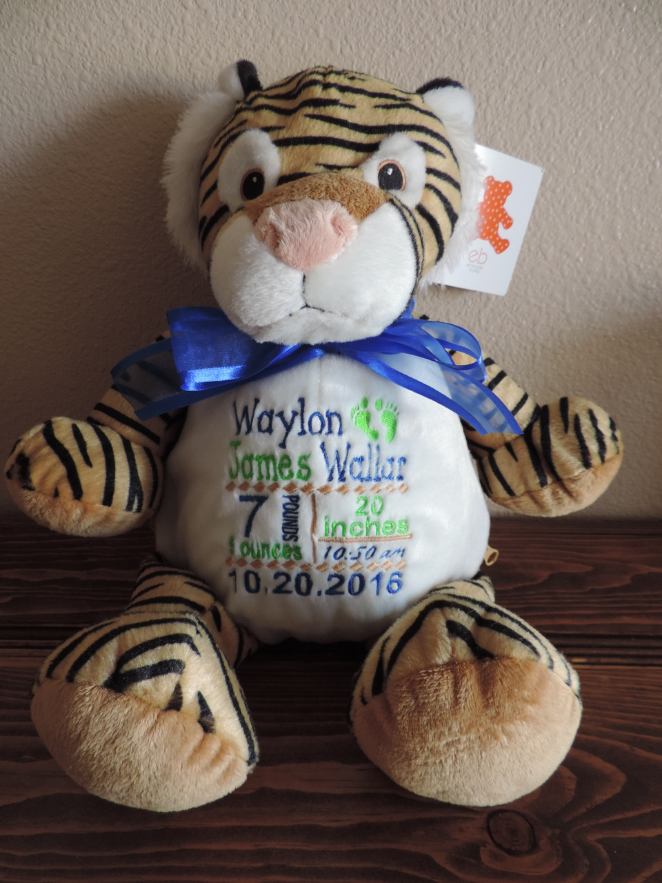 Personalized Birth Announcement Stuffed Animal Outrageous Embroidery
