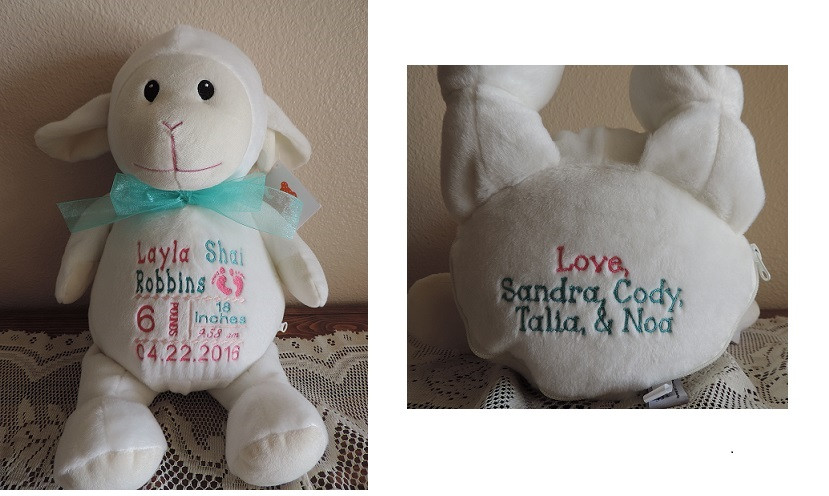 Personalized Birth Announcement Stuffed Animal With Name On Bottom