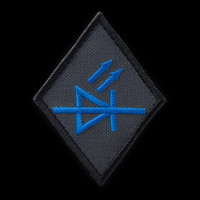 LED Specialist Patch: charcoal background, blue artwork, black border