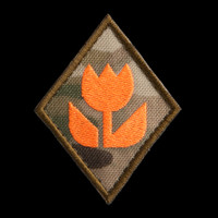 Macro Specialist Patch, MultiCam background, neon orange artwork, coyote brown border