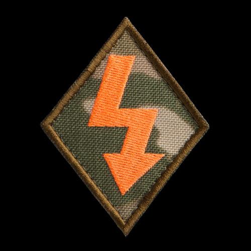 Macro Specialist Patch, MultiCam background, neon orange artwork, coyote brown border