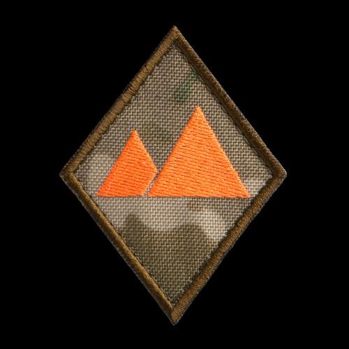 Landscape Specialist Patch: MultiCam background, neon orange artwork, coyote brown border