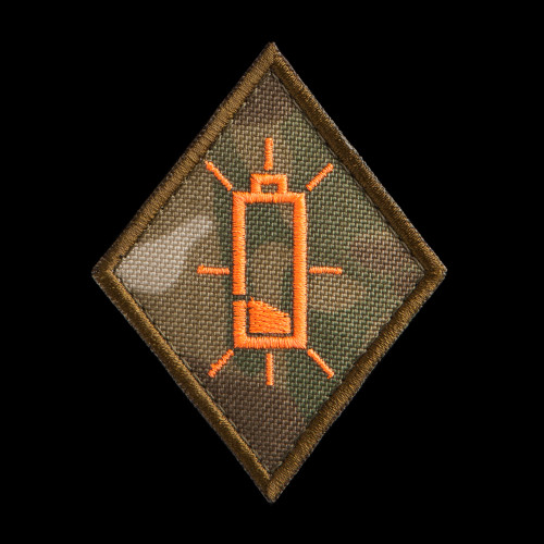 Low Battery Specialist Patch: MultiCam background, neon orange artwork, coyote brown border