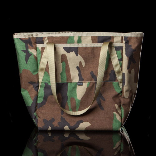 Topside Tote: M81 Woodland with tan webbing and binding