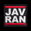 Javran-D.M.C. patch: black border and background, white text, red bars