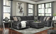 Tracling Slate Left Arm Facing Corner Chaise, Armless Loveseat, Right Arm Facing Sofa Sectional & Accent Ottoman
