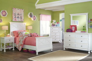 Kaslyn White 7 Pc. Dresser, Mirror, Chest, Twin Panel Bed & 2 Nightstands