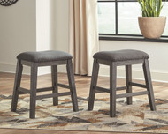 Caitbrook Dark Gray Upholstered Stool (Set of 2)