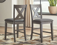 Caitbrook Dark Gray Upholstered Barstool (Set of 2)