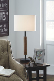 Maliny Black/Brown Wood Table Lamp (2/CN)