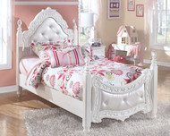 Exquisite White Twin Poster Bed