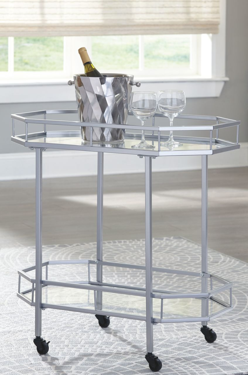 The Kadinburg Silver Finish Bar Cart Sold At Managhan S Furniture Serving Libby Mt And The Surrounding Area