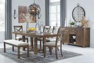 Moriville Grayish Brown 7 Pc. Rectangular EXT Table, 4 Upholstered Side Chairs, Upholstered Bench & Server