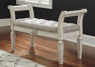 Realyn Antique White Accent Bench