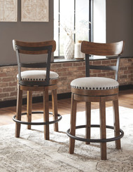 Valebeck Brown Upholstered Swivel Barstool (1/CN)