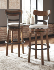 Valebeck Brown Tall Upholstered Swivel Barstool(1/CN)