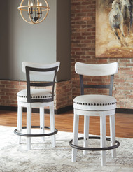 Valebeck White Upholstered Swivel Barstool (1/CN)