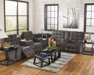 Acieona Slate Reclining Sofa with Drop Down Table, Wedge, Double Reclining Loveseat with Console Sectional, Kelton Cocktail TBL with Stools & 2 End Tables