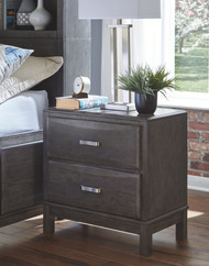 Caitbrook Gray Two Drawer Night Stand