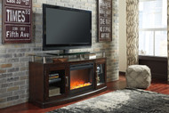 Chanceen Dark Brown 60 TV Stand with Electric Fireplace