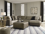Abalone Chocolate LAF Sofa, Armless Loveseat, RAF Corner Chaise Sectional, Accent Ottoman & Kinnshee End Table