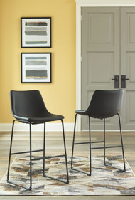 Centiar Black Tall Upholstered Barstool