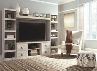 Willowton Whitewash Entertainment Center LG TV Stand, 2 Piers & Bridge