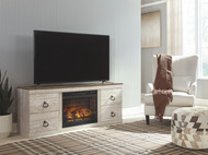 Willowton Whitewash Entertainment Center LG TV Stand with Fireplace Insert Infrared