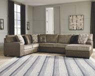 Abalone Chocolate 3-Piece Sectional with Chaise