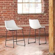 Centiar White Upholstered Barstool