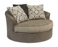 Abalone Chocolate Oversized Swivel Accent Chair