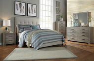 Contemporary Beige Upholstered King Bed