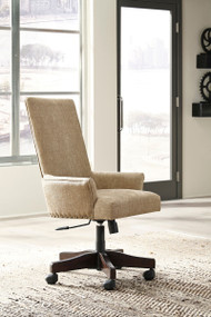 Baldridge Rustic Brown Upholstered Swivel Desk Chair