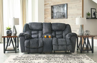 Capehorn Granite Double Reclining Loveseat with Console