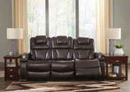 Warnerton Chocolate Power Reclining Sofa with Adjustable Headrest
