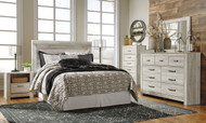 Bellaby Whitewash 3 Pc. Dresser, Mirror & Queen Panel Headboard Bed