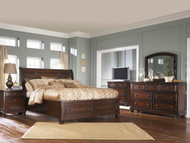 Porter Rustic Brown 7 Pc. Dresser, Mirror, Media Chest, King Sleigh Storage Bed & Nightstand