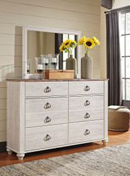 Willowton Whitewash Dresser & Mirror