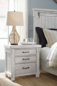 Brashland White Three Drawer Night Stand