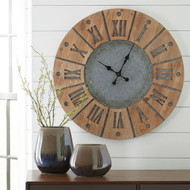 Payson Antique Gray/Natural Wall Clock