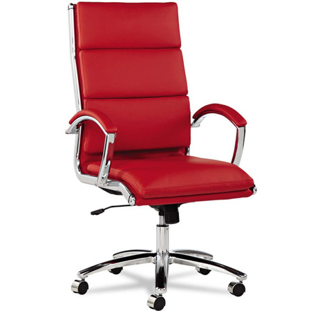 Alera Neratoli Red high Back task Chair • Vinyl back • Vinyl Seat • Height adjustable • Swivel-tilt mechanism • Stationary upholstered arms • Polished aluminum base • Also available in black and white