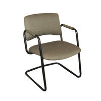 Tan Fabric Guest Chairs with Black Sled Base