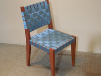 OFS Cherry Wood Guest Chair with Blue Weaving