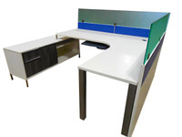 Steelcase Workstation Desk with Glass Dividers