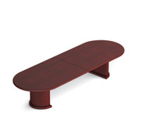 Offices to Go 12 ft Conference Boardroom Racetrack Wood Veneer Table Cordovan